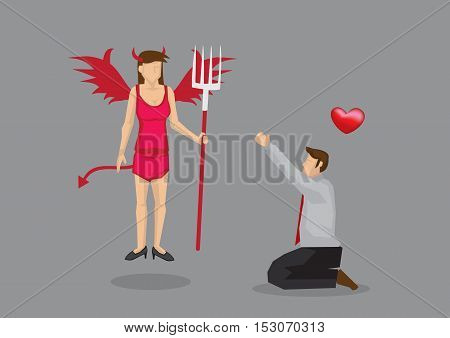 Cartoon man on his knees worshipping devil girl in red sexy lingerie. Creative vector illustration isolated on grey background.