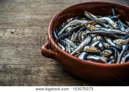 Fresh anchovy in pottery, Seafood, Raw Food, Horizontal