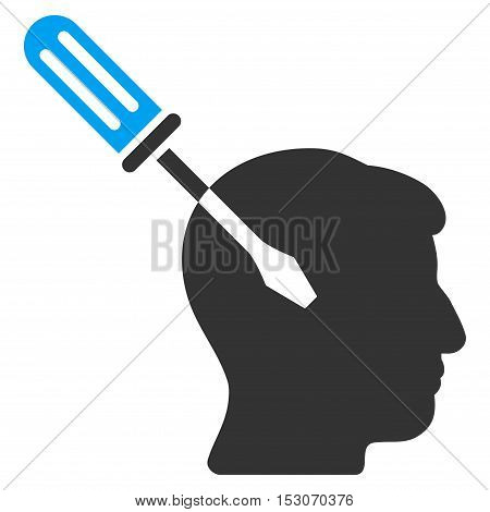 Intellect Screwdriver Tuning glyph pictogram. Style is flat graphic bicolor symbol, blue and gray colors, white background.