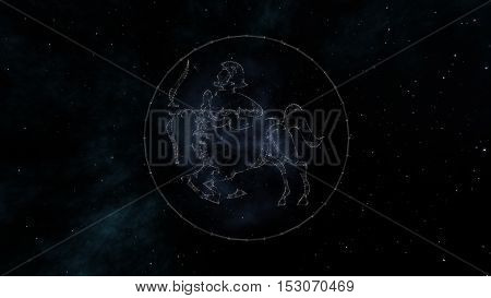 Sagittarius zodiac sign of the beautiful bright stars on the background of cosmic sky. Stars and symbol outline on a dark sky background. Zodiac signs. Horoscope. Astrology sign.