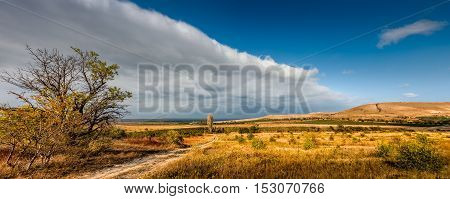 Panoramic view of the vineyards of Koktebel Crimea