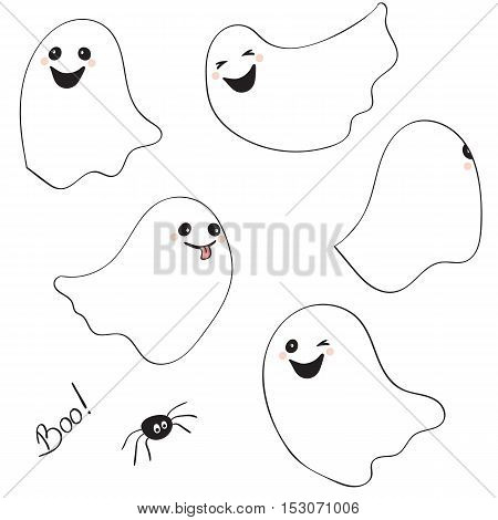 Set of cartoon spooky Ghost isolated on white background. Spooky and scary holiday monster design ghost character. Costume evil silhouette ghost character creepy funny cartoon cute spooky night symbol. Vector illustration