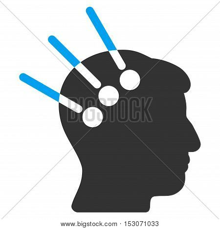 Neural Interface glyph icon. Style is flat graphic bicolor symbol, blue and gray colors, white background.