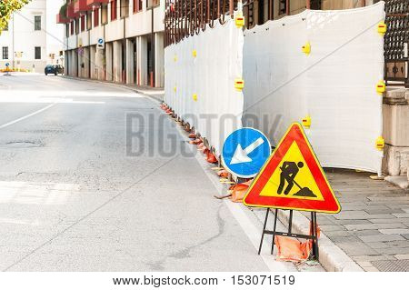 Work In Progress Sign On The Road