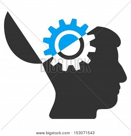 Open Mind Gear glyph pictograph. Style is flat graphic bicolor symbol, blue and gray colors, white background.