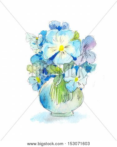 bouquet of blue wild flowers in watercolor in a vase