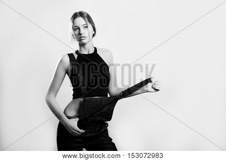 Black And White Image Of Sensual Woman In Overalls Jeans