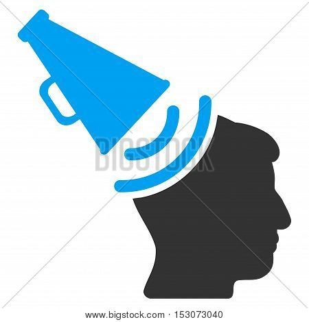Propaganda Megaphone glyph icon. Style is flat graphic bicolor symbol, blue and gray colors, white background.