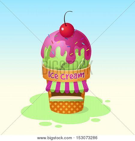 Ice cream shop. Vector cartoon illustration isolated.