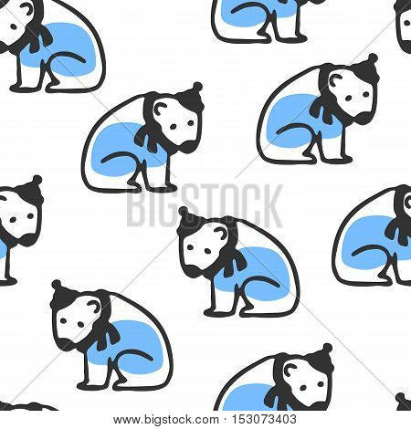Seamless pattern with cute cartoon polar bear. Funny bear wears scarf and hat. Vector doodles. Childish wallpaper