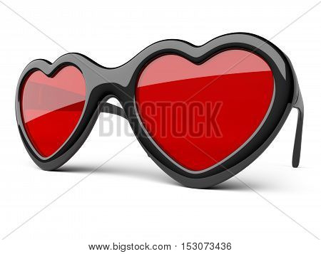 Black glasses in a form heart. Happiness and love conceptual 3d illustration.