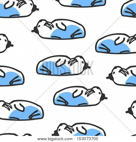 Seamless pattern with cute cartoon walrus. Funny walrus wears hat. Vector doodles. Sea creature with big fangs