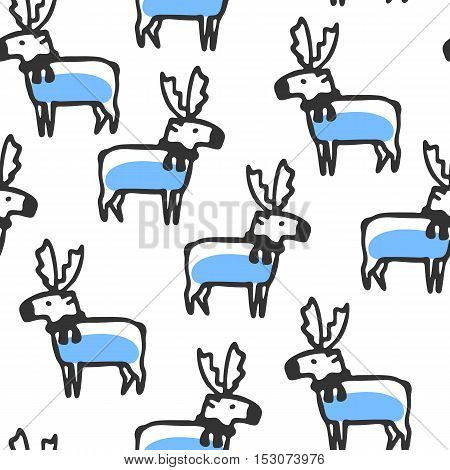 Seamless pattern with cute cartoon reindeer. Funny caribou wears scarf. Vector doodles. Childish wallpaper with cartoon deer