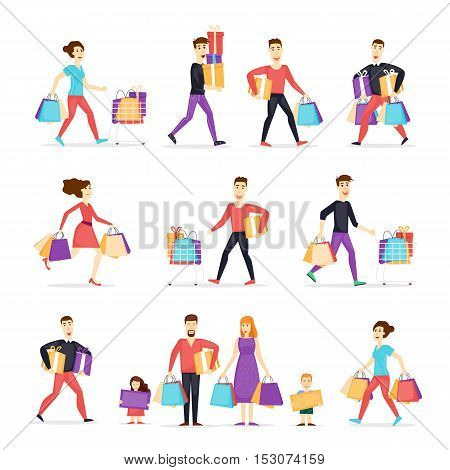 Sale. Collection going shopping people with shopping. Characters. Shopping people woman and man with bags. Family shopping. Flat design vector illustration.