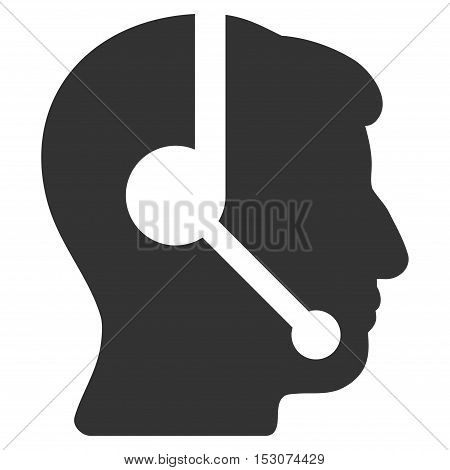 Call Center Operator glyph icon. Style is flat graphic symbol, gray color, white background.