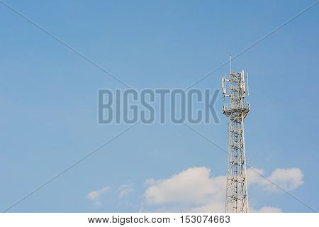 Telecommunication tower with clear blue sky background. Communication concept.