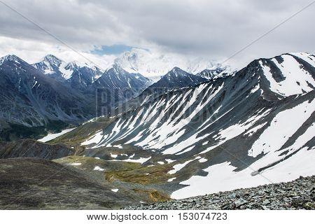 View from Karaturek mountain pass to Beluha mountain in cloudy weather