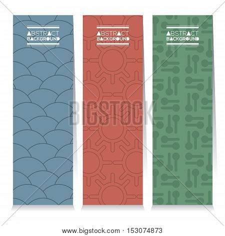 Modern Design Set Of Different Three Graphic Vertical Banners Vector Illustration. EPS 10