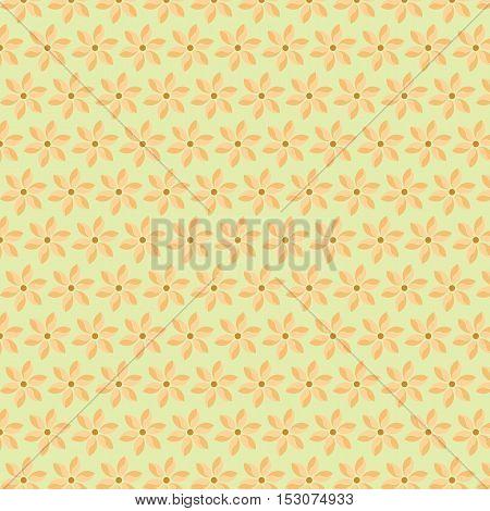 Flat Simple Soft Orange Flower Background Pattern.