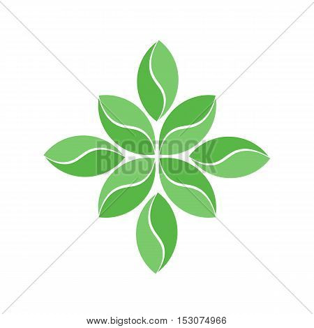 Simple Green Flower Leaves Logo or Icon. Isolated.