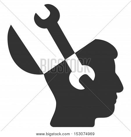 Mind Wrench Tools glyph icon. Style is flat graphic symbol, gray color, white background.
