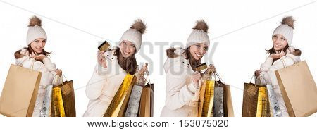 Collection of young woman shopper in winter dress, isolated on white background