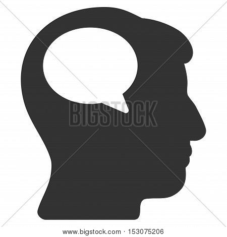Person Thinking glyph pictograph. Style is flat graphic symbol, gray color, white background.