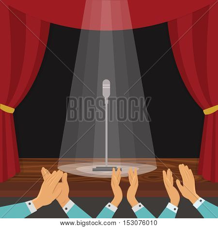 Clapping of spectators and theatrical stage with red curtain and microphone in rays of light vector illustration