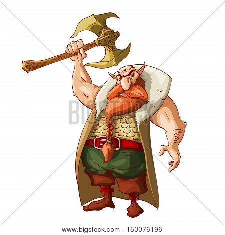 Colorful vector illustration of a cartoon fantasy dwarf warrior armed with huge golden battle axe