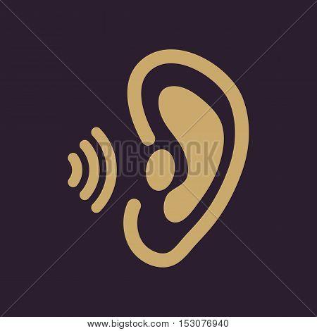 The ear icon. Sense organ and hear, understand symbol. Flat Vector illustration