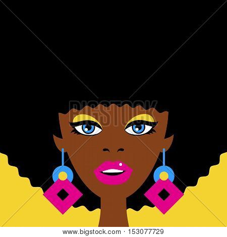 Young Sexy Surprised African Woman Face With Open Mouth And Big Earrings. Vector Colorful Background