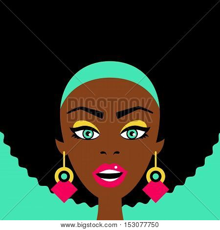 Sexy Surprised African Woman With Open Mouth And Big Earrings. Vector Flat Colorful Illustration In
