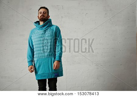 Man In A Light Blue Padded Hoodie