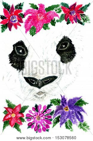Watercolor panda bear portrait with flowers hand drawn illustration.