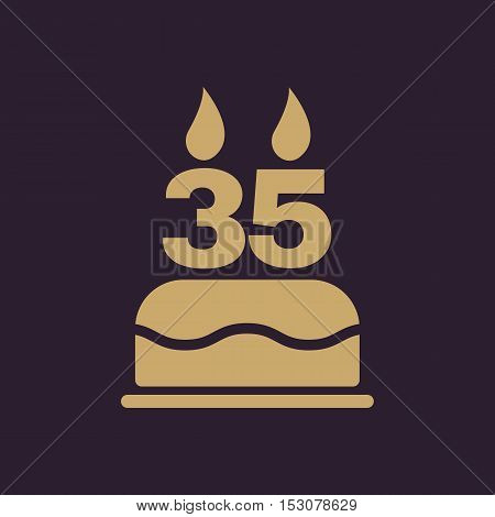 The birthday cake with candles in the form of number 35 icon. Birthday symbol. Flat Vector illustration
