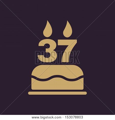 The birthday cake with candles in the form of number 37 icon. Birthday symbol. Flat Vector illustration. Button Set