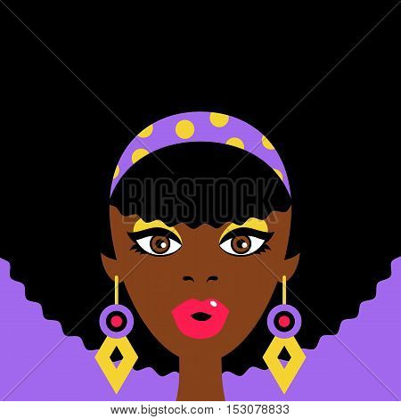 Sexy Surprised Afro Girl With Open Mouth And Big Earrings. Vector Flat Colorful Illustration In Retr