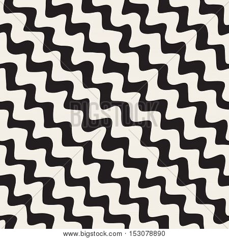 Vector Seamless Black and White Hand Drawn ZigZag Diagonal Stripes Pattern. Abstract Freehand Background Design