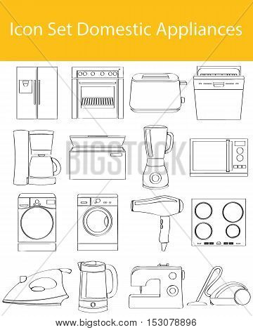 Drawn Doodle Lined Icon Set Domestic Appliances I