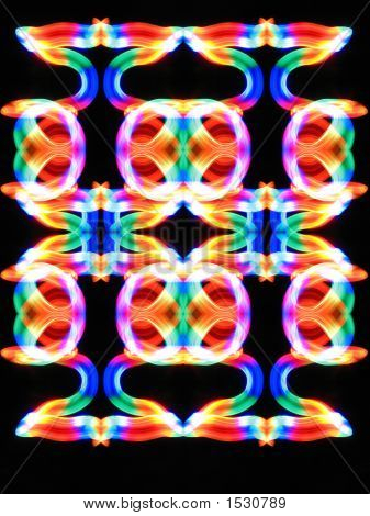 Multicolor Ornament On A  Black Background