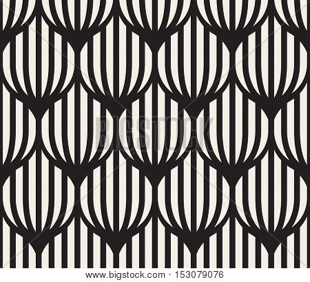 Vector Seamless Black And White Lines Lattice Pattern. Abstract Geometric Background Design