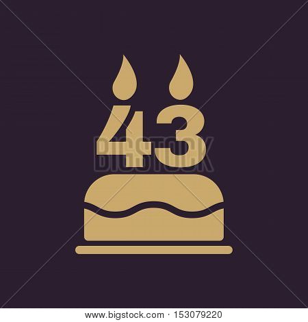 The birthday cake with candles in the form of number 43 icon. Birthday symbol. Flat Vector illustration