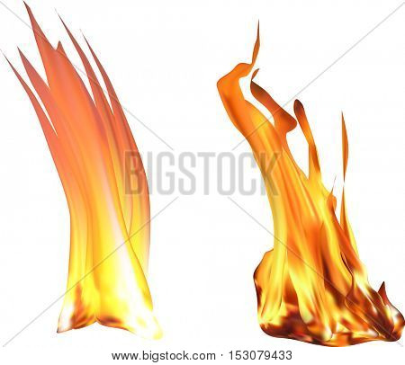 illustration with bright orange fire isolated on white background