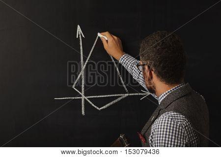 Hot Male Teacher At The Blackboard