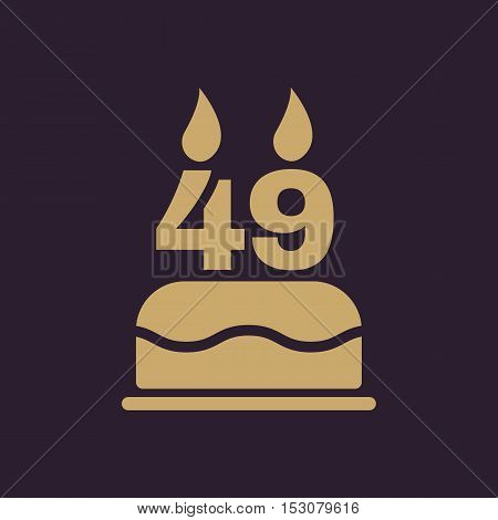 The birthday cake with candles in the form of number 49 icon. Birthday symbol. Flat Vector illustration