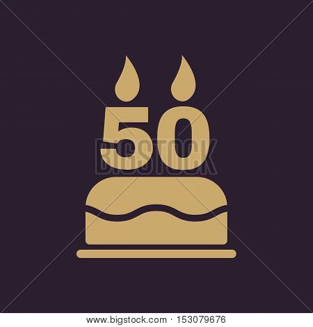 The birthday cake with candles in the form of number 50 icon. Birthday symbol. Flat Vector illustration