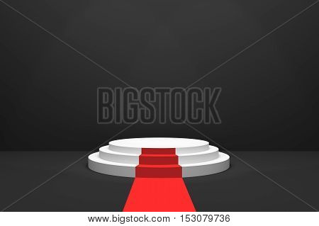 3D Rendering : illustration of stage with red carpet for awards ceremony. White round podium. First place.3 steps empty podium on black room background and lighting drop from top.for advertising your product or present a product