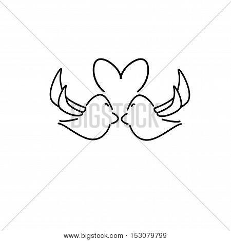 bird love icon vector on white background