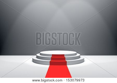 3D Rendering : illustration of stage with red carpet for awards ceremony. White round podium. First place.3 steps empty podium on white room background and lighting drop from top.for advertising your product or present a product