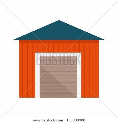 Building with lift gates vector. Flat design. Constructions on farm. Wooden garage, warehouse, barn illustration for agricultural theme illustrating, app icons, ad, infographics. Isolated on white.
